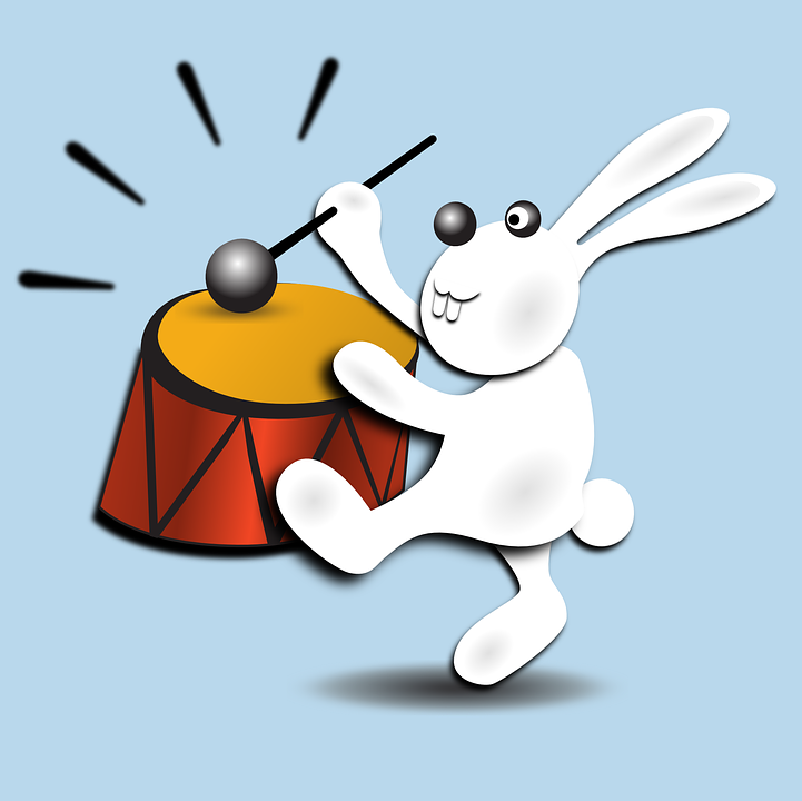 Drumming, Rataplan, Bunny, Drum, Rabbit, Musician