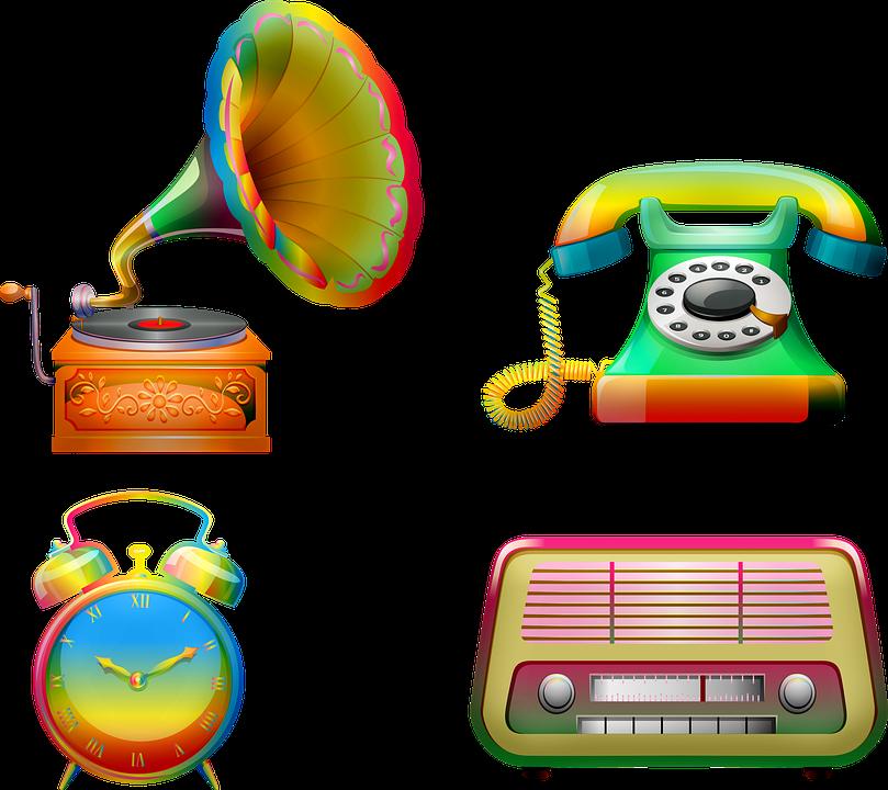 Retro Electronics, Gramophone, Radio, Telephone