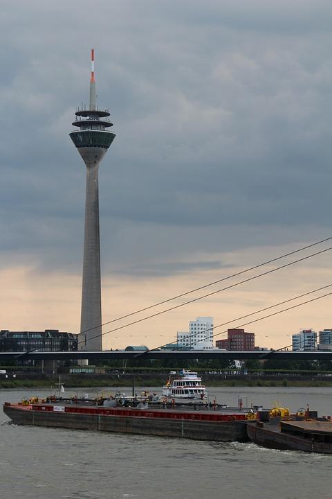 Düsseldorf, Radio Tower, Rhine, Ship, Transport