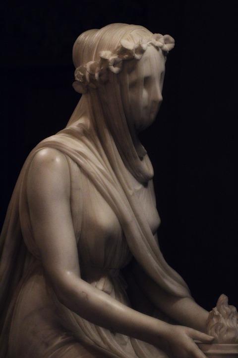 Veiled, Vestal Virgin, Marble, Statue, Raffaele Monti