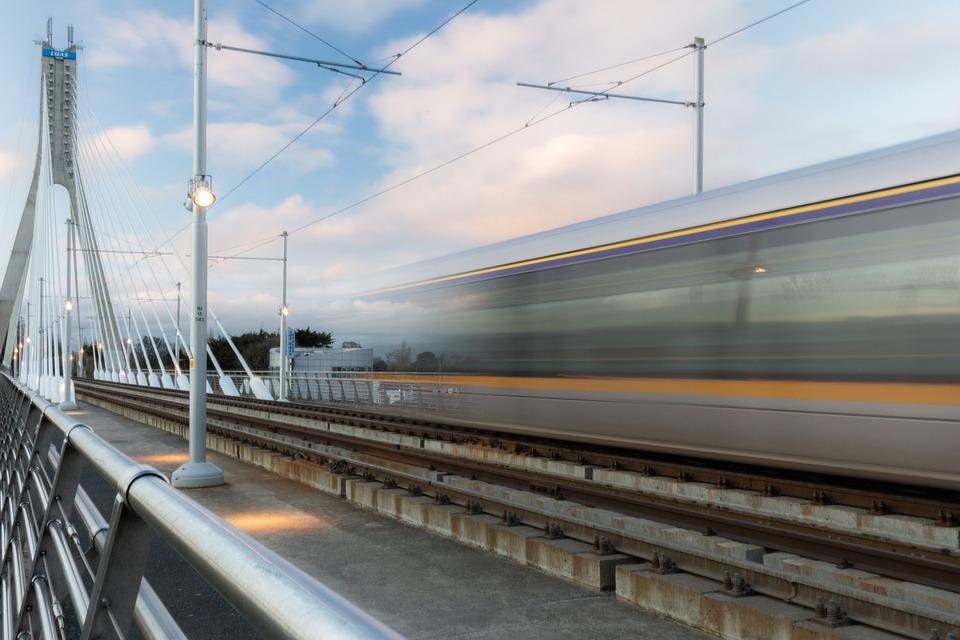 Train, Rail, Bridge, Tram, Motion, Blur, Traffic, Rails