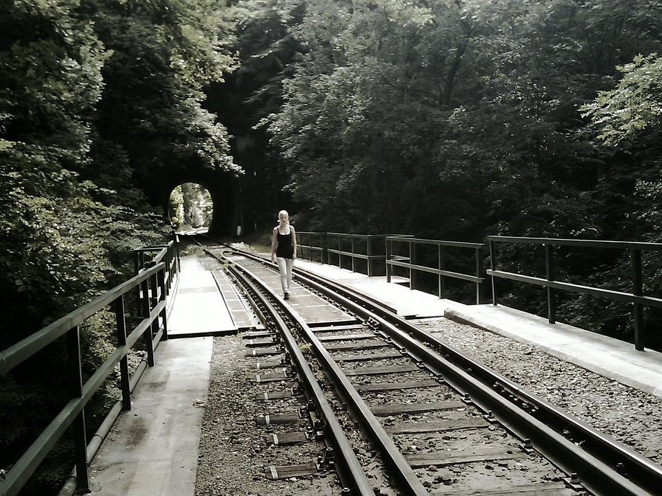 Girl, Rails, Train, Rail