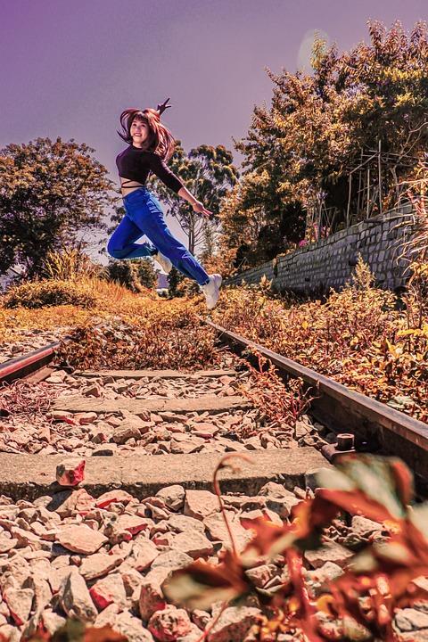 Girl, Jump, Railroad, Woman, Fly, Railway, Rail Tracks