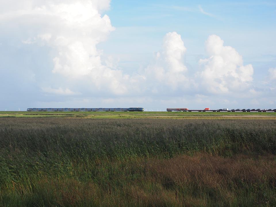 Hindenburg Damm, Train, Rail Traffic, Rail Transport