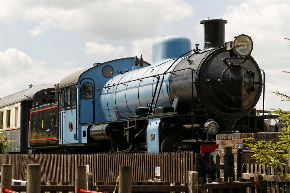 Engine, Steam, Rail, Railways, Vintage, Old, Blue