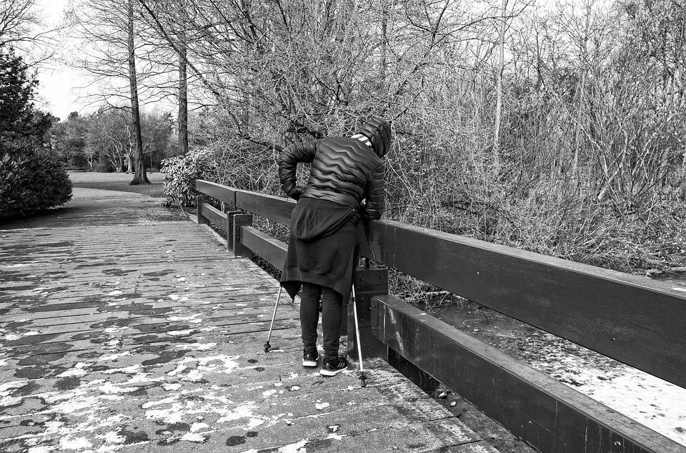 Person, Woman, People, Standing, Leaning, Rail, Bridge