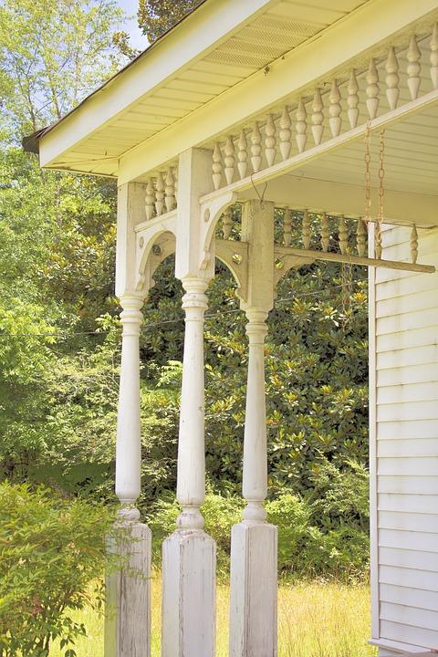 Porch, Porch Railing, Home, House, Railing