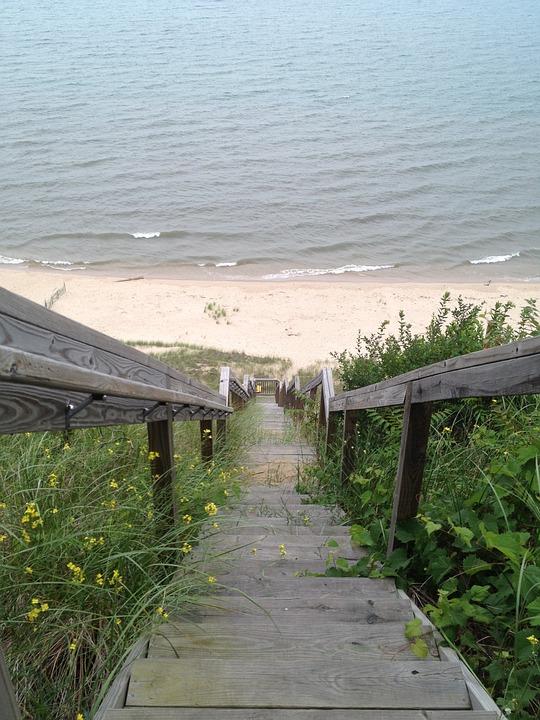 Stairs, Steps, Long, Beach, Ocean, Shore, Lake, Railing