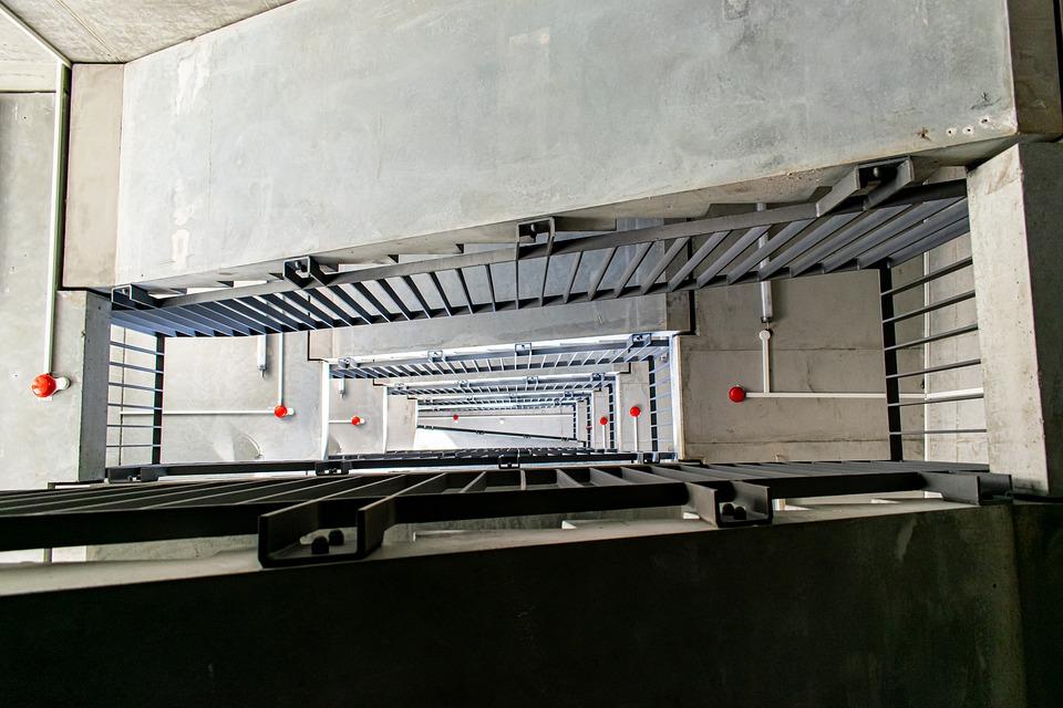 Staircase, Railing, Fire Detectors