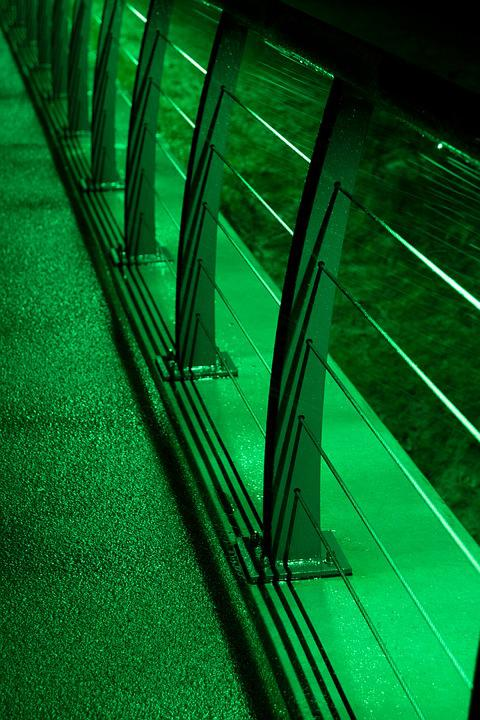 Bridge, Dark, Lighting, Green, Street, Railing