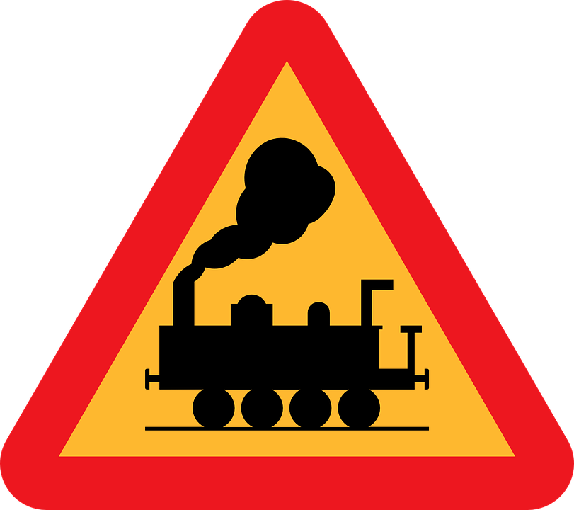 Railroad Crossing, Railroad Tracks Ahead, Roadsign