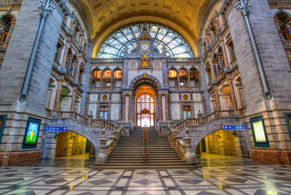 Antwerp, Station Hall, Building, Station, Hall, Railway