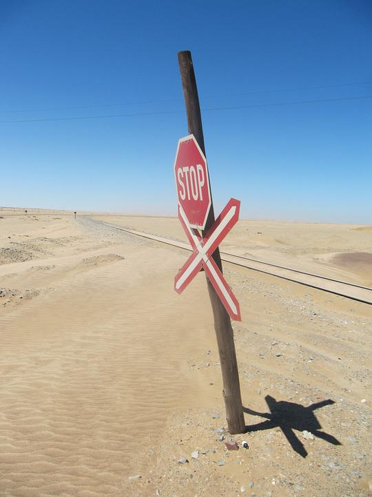 Sign, Desert, Train, Railway, Journey, Transport