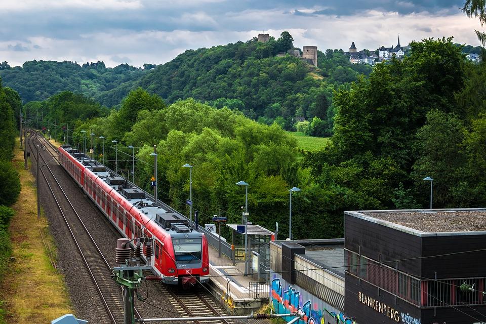 Railway Station, Train, Hill, Village, Rails, Railway