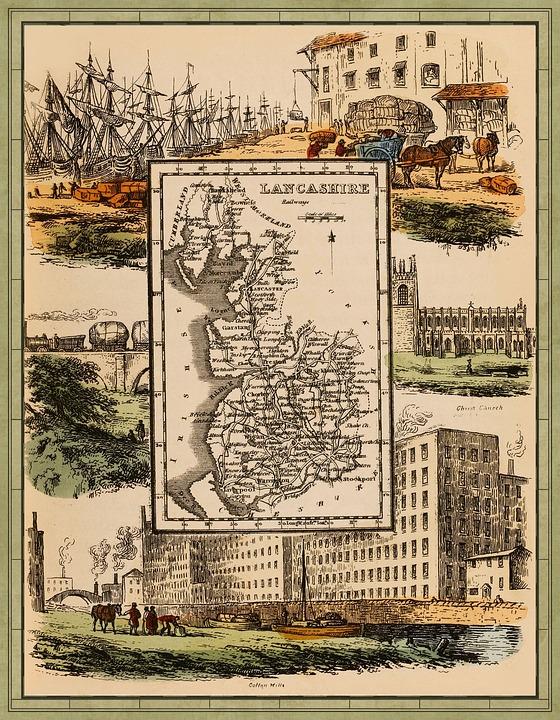 Antique, Map, Railway Lines, Railway, Train, Char