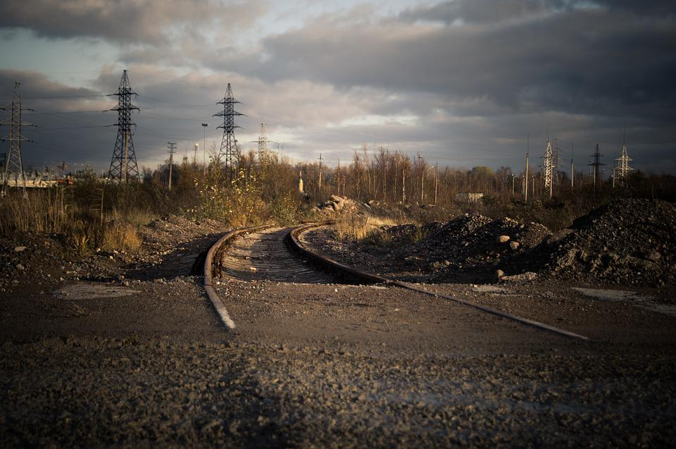 Power Poles, Power Lines, Wires, Railway, Abandoned