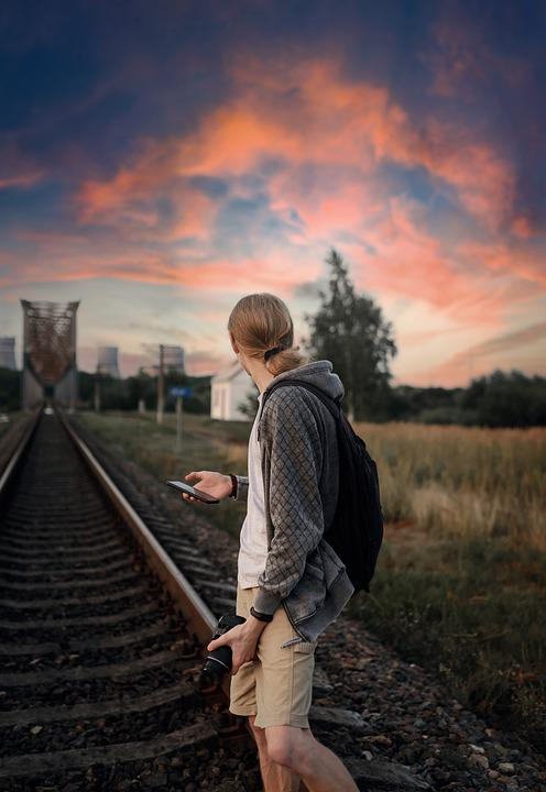Man, Travelling, Train Tracks, Railway, Railroad