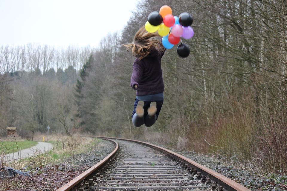 Girl, Railway Rails, Balloons, Nature, Jump