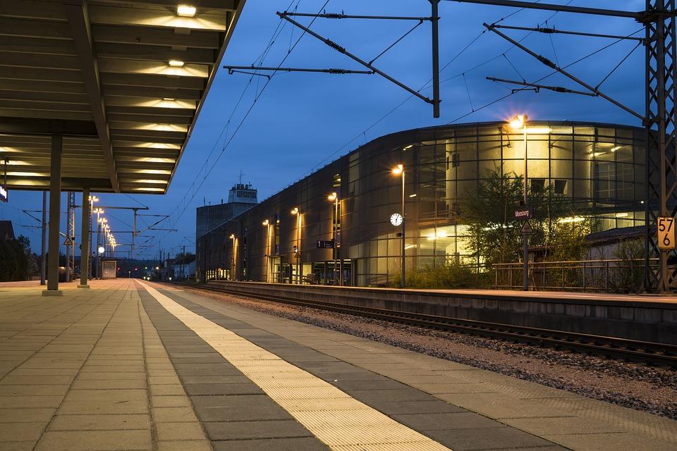 Railway Station, Morning, Clock, Clock Face, Gleise