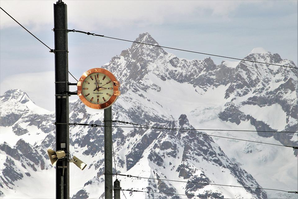 Omega, Zermatt, Railway Station, Clock, Snow, Mountain
