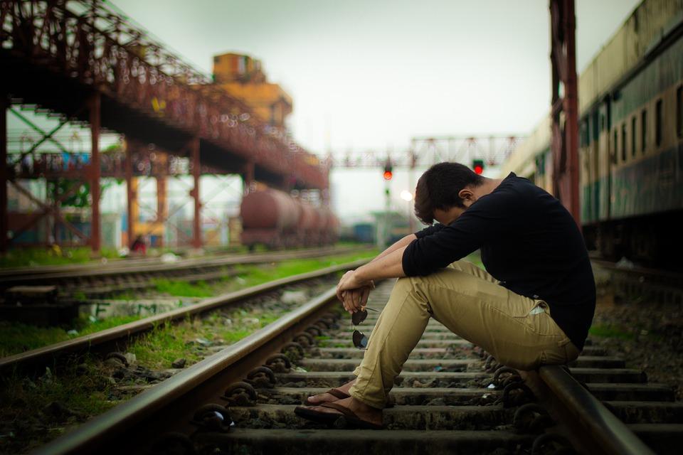 Train, Sad, Lonely, Regret, Desperate, Railway, Man