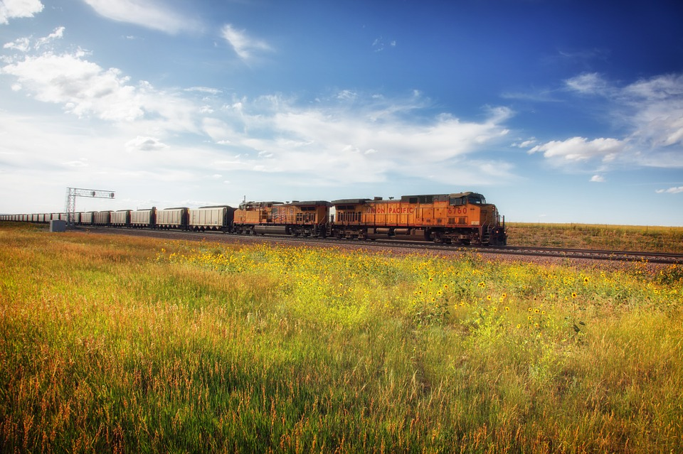 Wyoming, Landscape, Scenic, Train, Railway, Railroad
