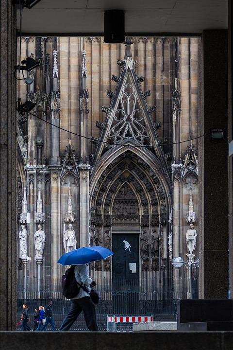 Umbrella, Rain, Church, Cologne, Architecture, History