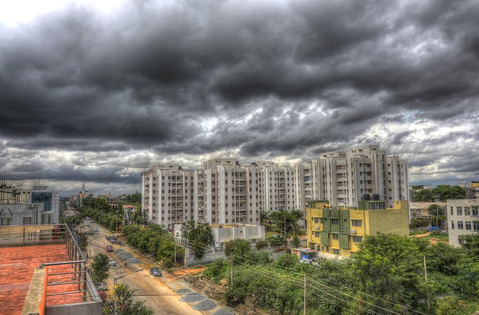 Bangalore, Rain Clouds, High Rises, Clouds, Landscape