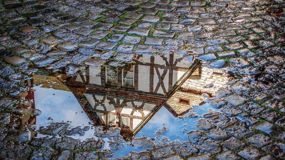 Cobblestones, Rain, Mirroring, Truss, Architecture