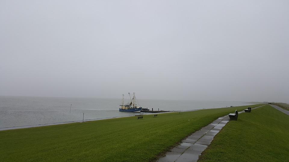 North Sea, Dam, Fog, Rain, Rained Out, Pellworm, Island