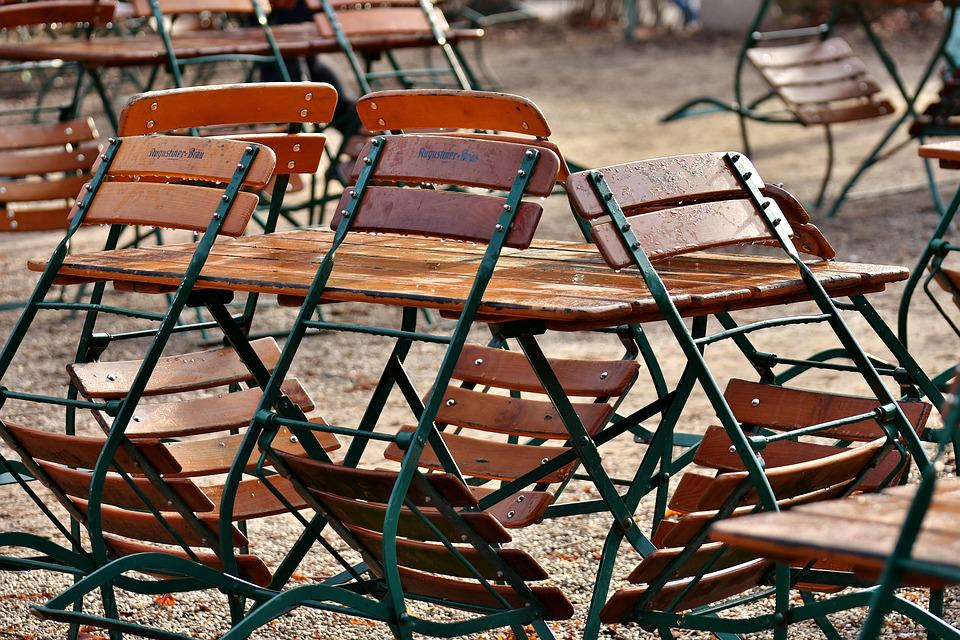 Beer Garden, Empty, Rain, Chairs, Dining Tables, Out