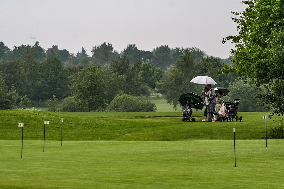 Golf, Rain, Umbrella, Golf Course