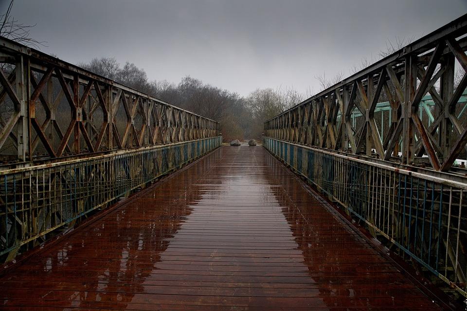 Bridge, River, Rain, Wooden Bridge, Landscape, Way