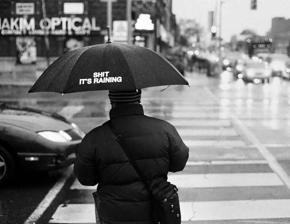 Rain, Man, City, Person, Adult, People, Umbrella