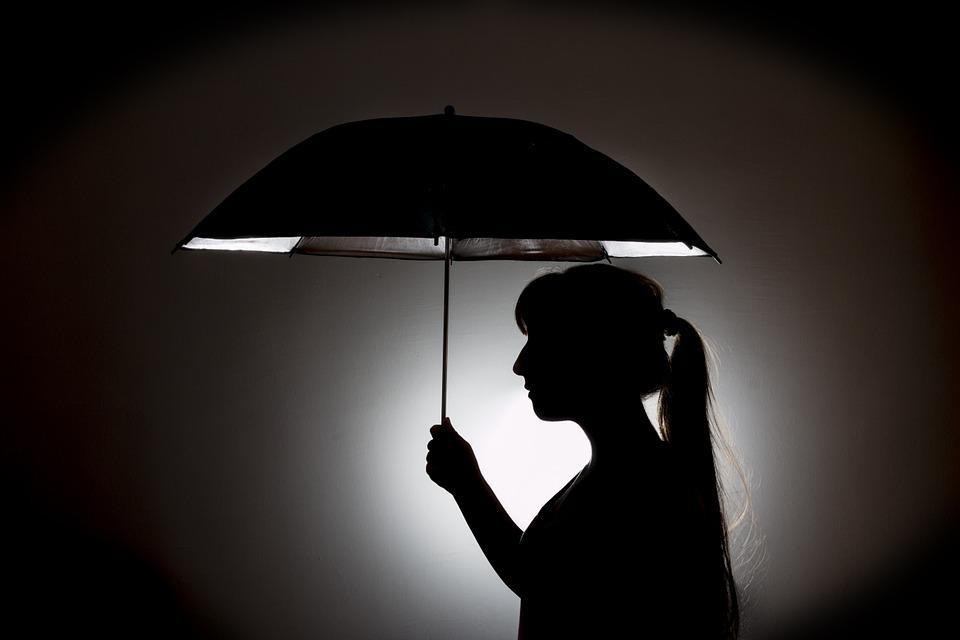 Umbrella, Rain, Silhouette, Shadow, Black, Dark, Night