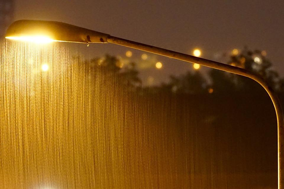 Night, Lighting, Road, Light, Rain