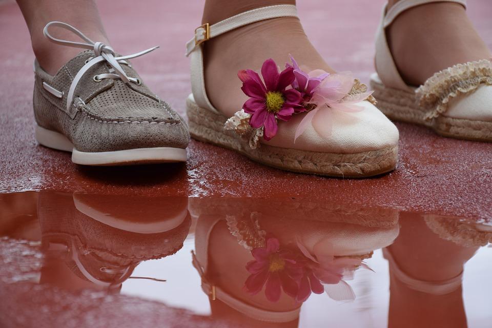 Shoes, Children, Reflection, Water, Rain, Soil