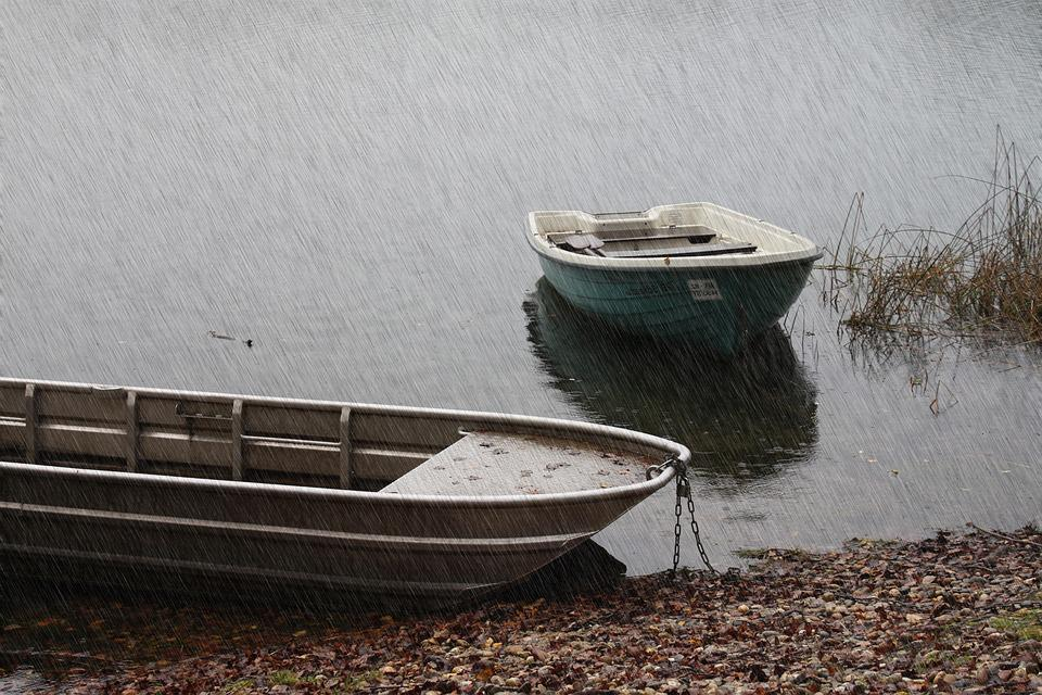 Rain, Pond, Boats, Drip, Water, Wave, Bank, Storm