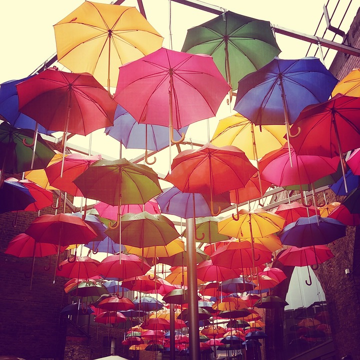 Umbrella, Rain, Colors