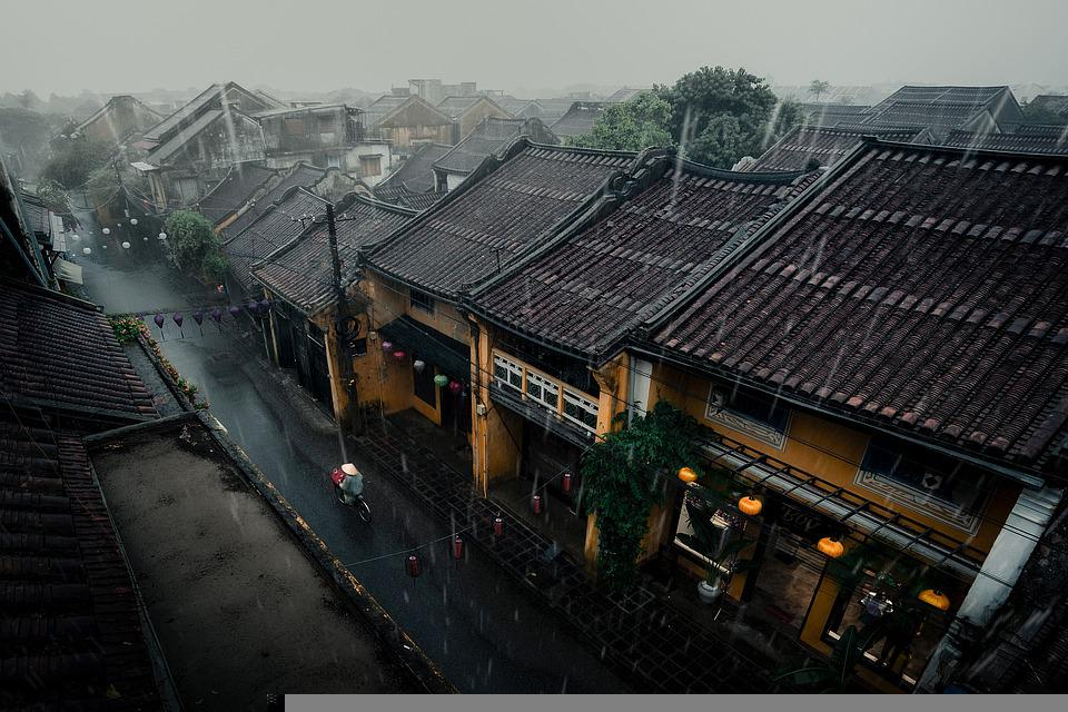 Buildings, Houses, Street, City, Rain, Storm, Weather