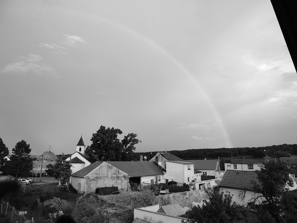 Rainbow, Landscape, B W Photography
