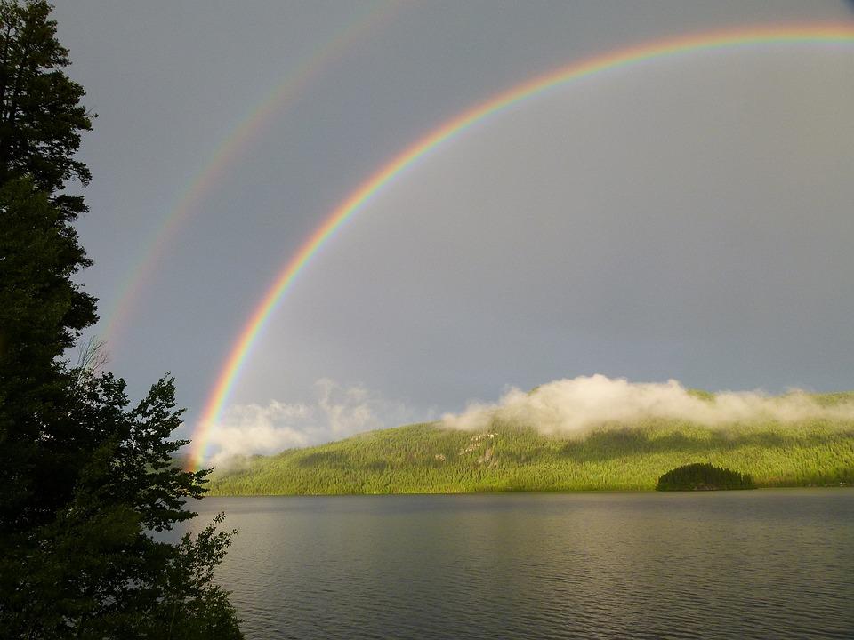 Double, Rainbow, Thunderstorm, Canim Lake