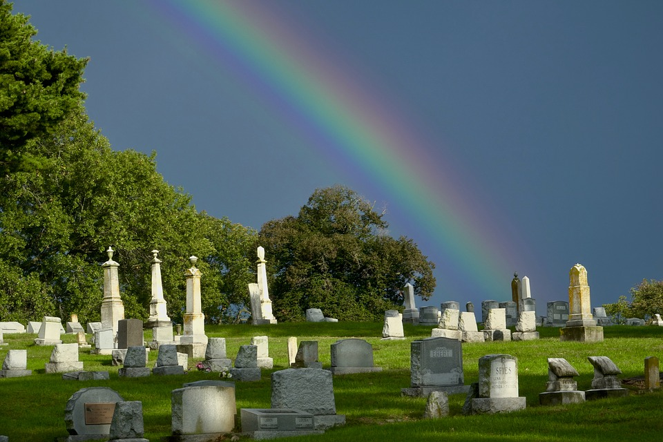 Rainbow, Cemetery, Sky, Outside, Tombstone, Graves