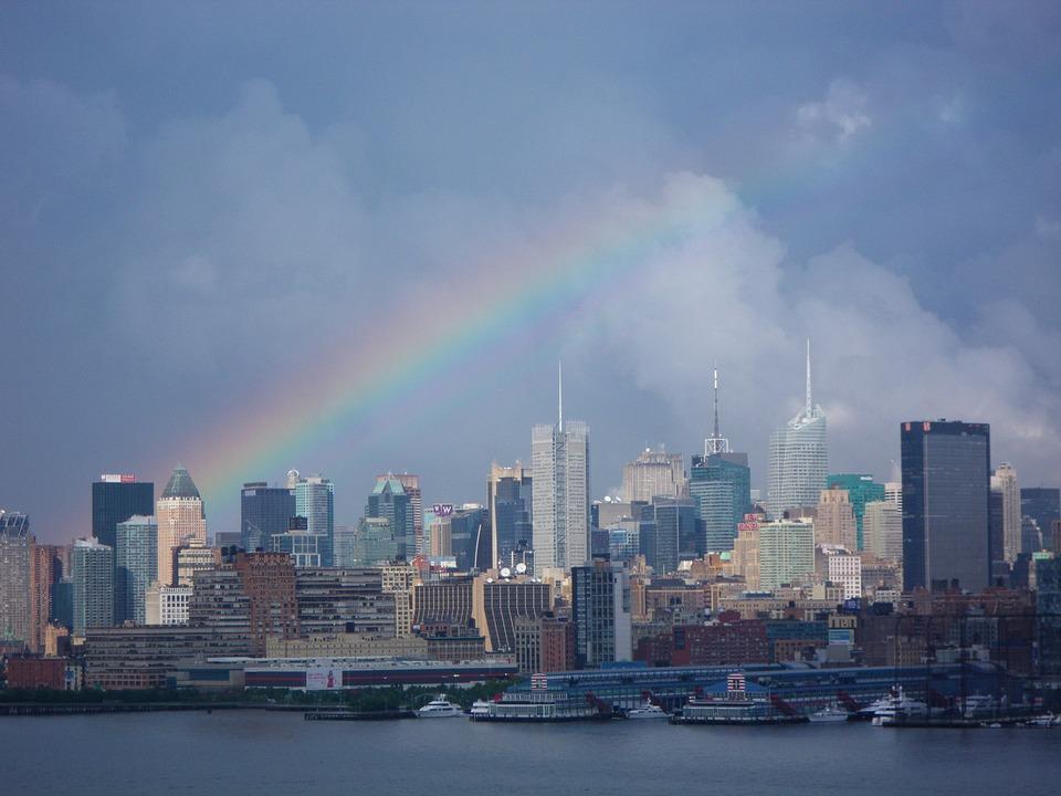 Rainbow, Cityscape, Skyline, Nyc, City, Skyscraper