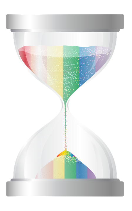 Hourglass, Timer, Rainbow, Illustration, Time