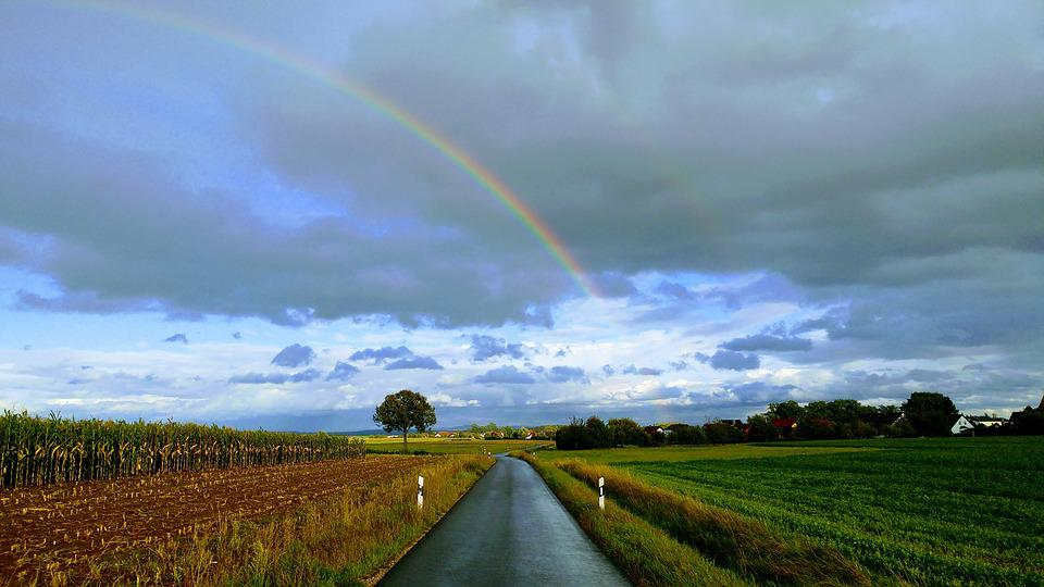 Rainbow, Road, Sky, Natural Phenomenon, Nature, Clouds