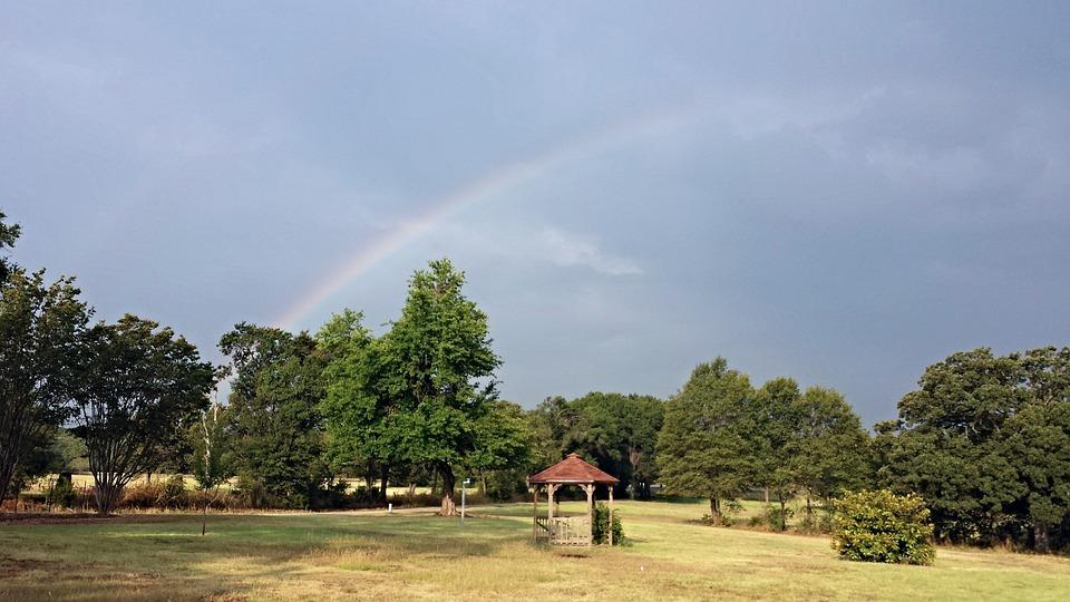 Rainbow, Gazebo, Over Trees