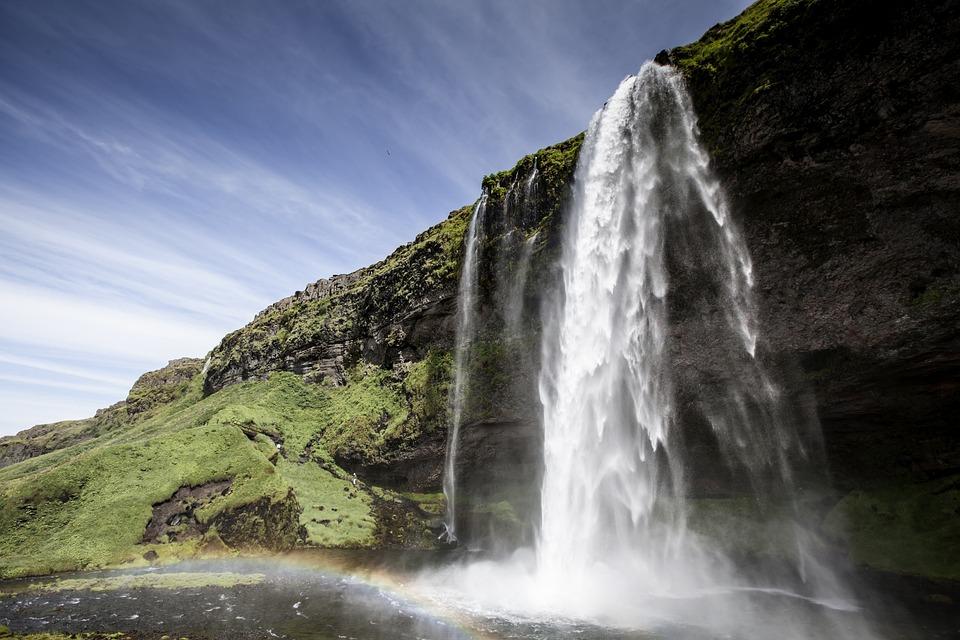 Seljalandsfoss, Waterfall, Iceland, Water, Rainbow