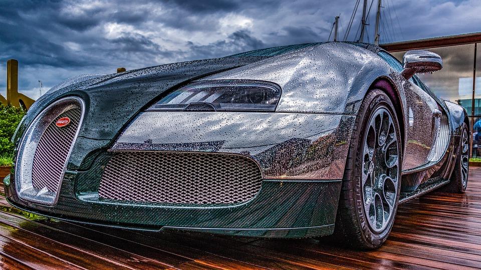 Sports Car, Bugatti, Raindrop, Car Paint, Clouds