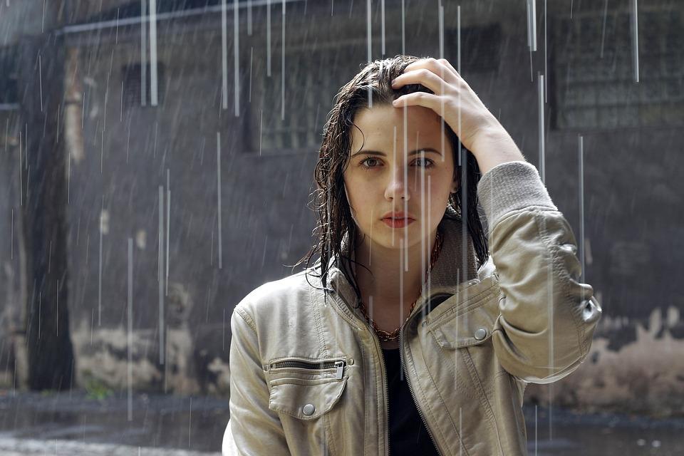 Rain, Woman, Brunette, Portrait, Raining, Rainfall